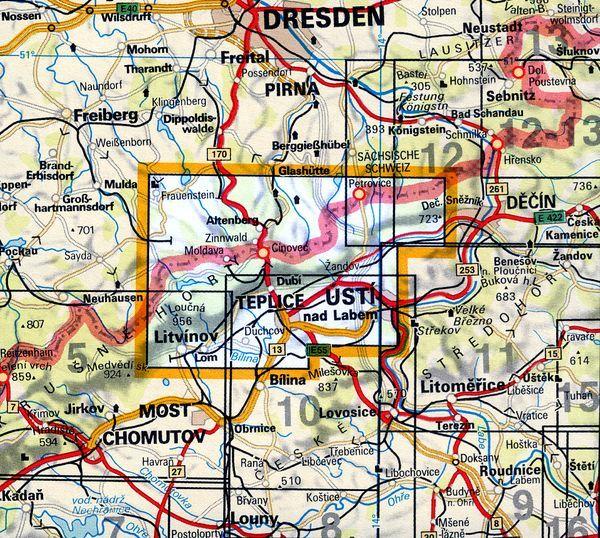 Mapa KČT 6 - Krušné hory-Teplicko
