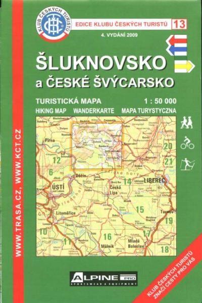 Mapa KČT 13 - České Švýcarsko a Šluknovsko