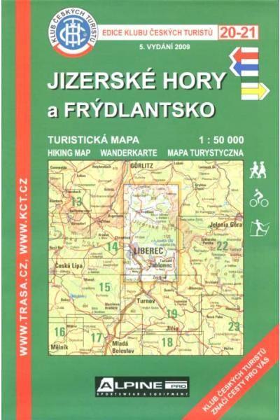 Mapa KČT 20-21 - Jizerské hory a Frýdlantsko