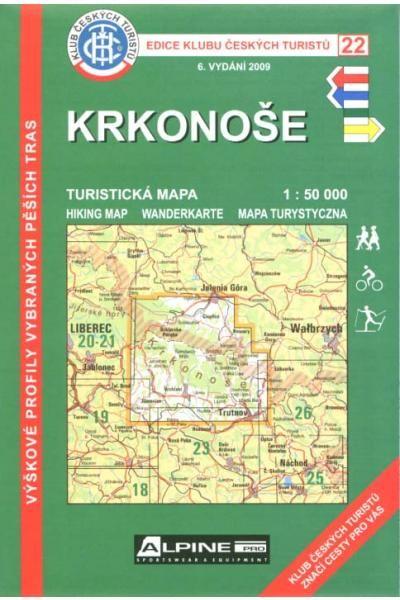 Mapa KČT 22 - Krkonoše