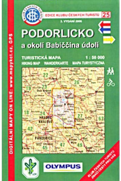 Mapa KČT 25 - Podorlicko a okolí Babiččina údolí