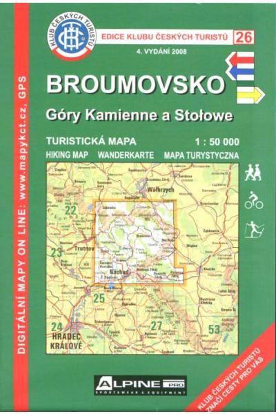 Mapa KČT 26 - Broumovsko, Góry Kamienne a Stołowe