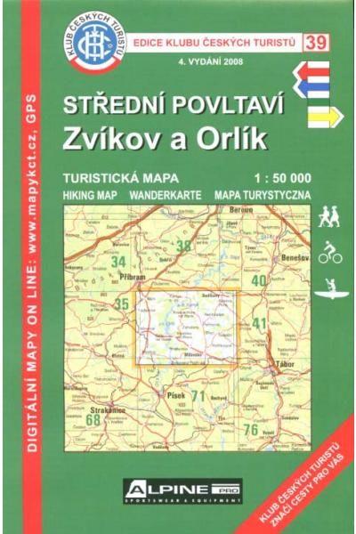 Mapa KČT 39 - Střední Povltaví-Zvíkov a Orlík
