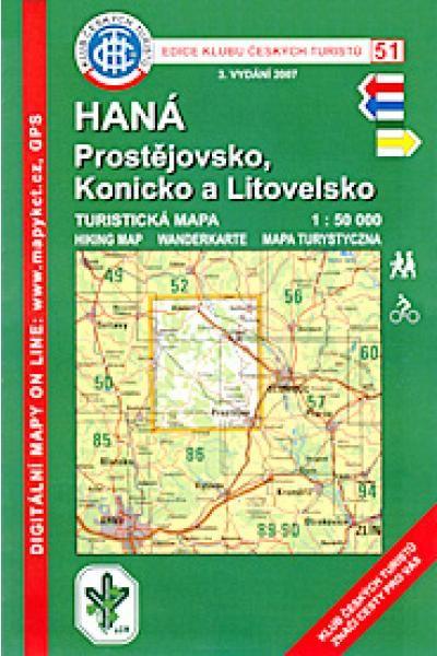 Mapa KČT 51 - Haná-Prostějovsko, Konicko a Litovelsko