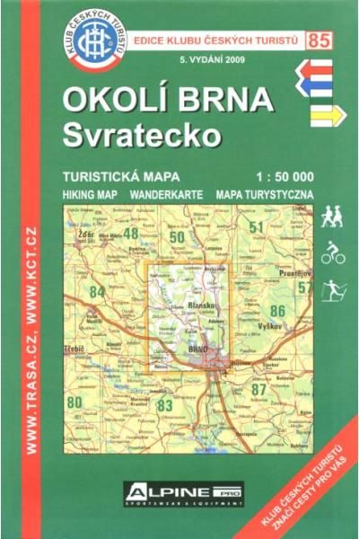 Mapa KČT 85 - Okolí Brna-Svratecko