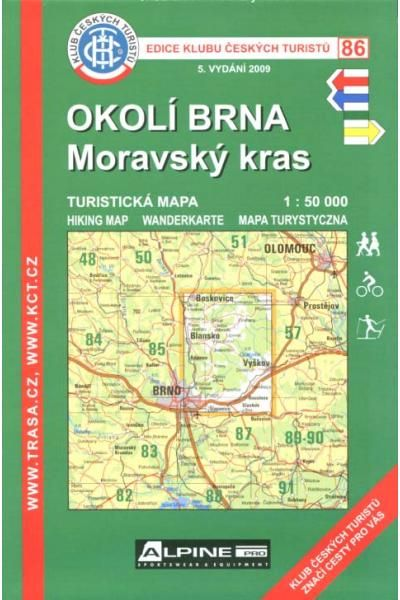Mapa KČT 86 - Okolí Brna-Moravský kras