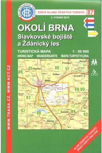 Mapa KČT 87 - Okolí Brna-Slavkovské bojiště a Ždánický les