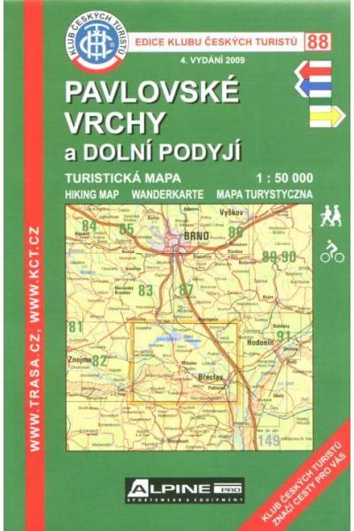 Mapa KČT 88 - Pavlovské vrchy