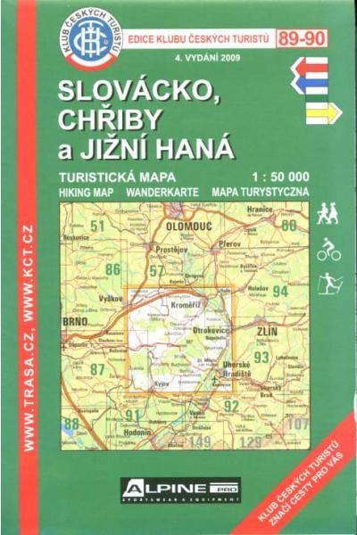 Mapa KČT 89-90 - Slovácko-Chřiby a jížní Haná
