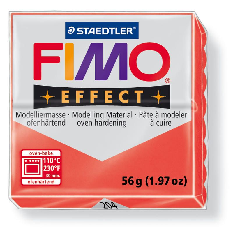 Hmota FIMO EFFECT, 56 g, tm. červená - průsvitná